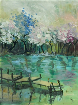 Rita Galambos - Apple Trees Acrylic on Canvas, Paintings