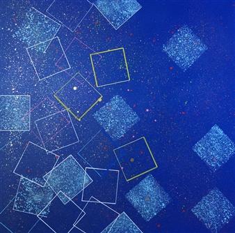 Alexis de Moussac - Carrés Sur Fond Bleu Spraypaint & Felt Tip Marker on Canvas, Paintings