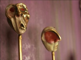 Annita Faitaki - Small Head 4 Bronze with Patina, Sculpture