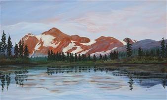 Johanna Wray - Reflection, Virginia Lake Acrylic on Canvas, Paintings