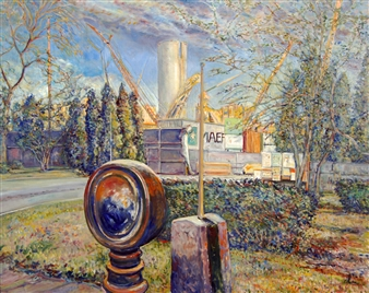 James Chisholm - Salem Power Plant Oil on Canvas, Paintings