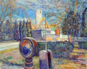 James Chisholm - Salem Power Plant Oil on Canvas, Paintings