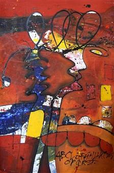George Struikelblok - Mati's (Friends) Acrylic on Canvas, Paintings