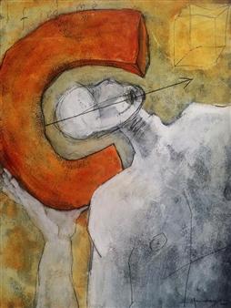 Marco Mendoza - I Find Me Acrylic & Mixed Media on Paper, Mixed Media