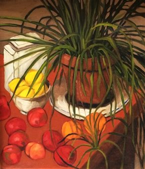 Vincent Torre - Still Life With Spider Plant Oil on Canvas, Paintings