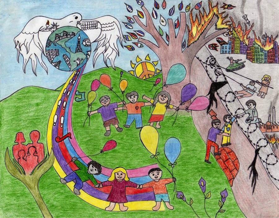 Worksheet. Dibujos de nios y nias por la Paz