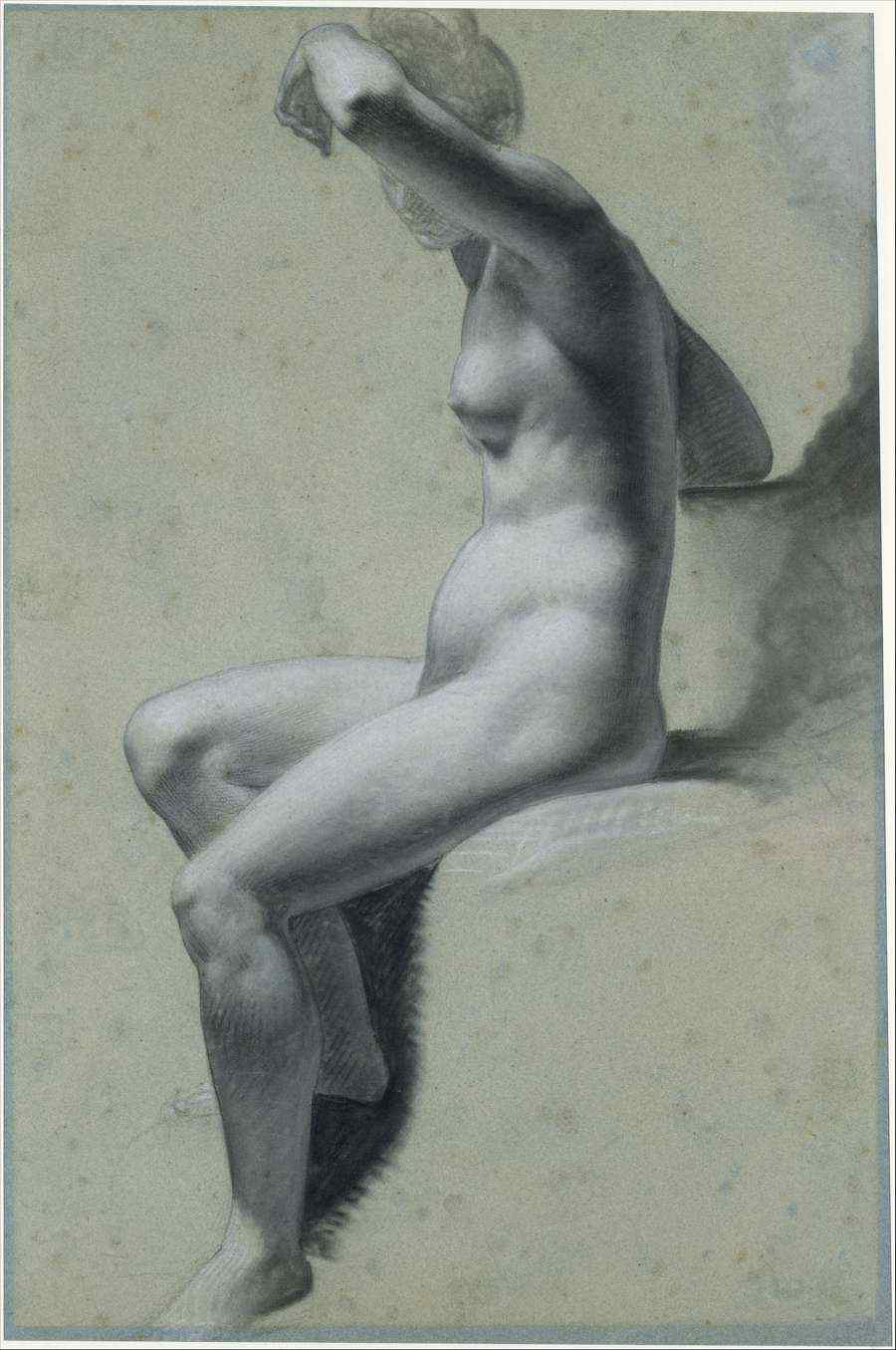 Moving-art - Pierre Paul Prudhon 1810–20 Seated Female Nude - Drawing - Chalk - The Metropolitan Museum of Art