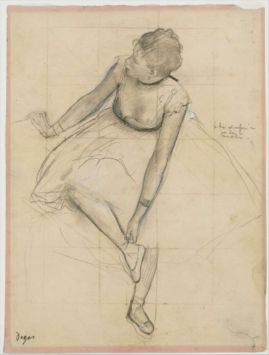 Moving-art -Edgar Degas 1873 Dancer Adjusting Her Slipper - Drawing - Graphite Chalk - The Metropolitan Museum of Art