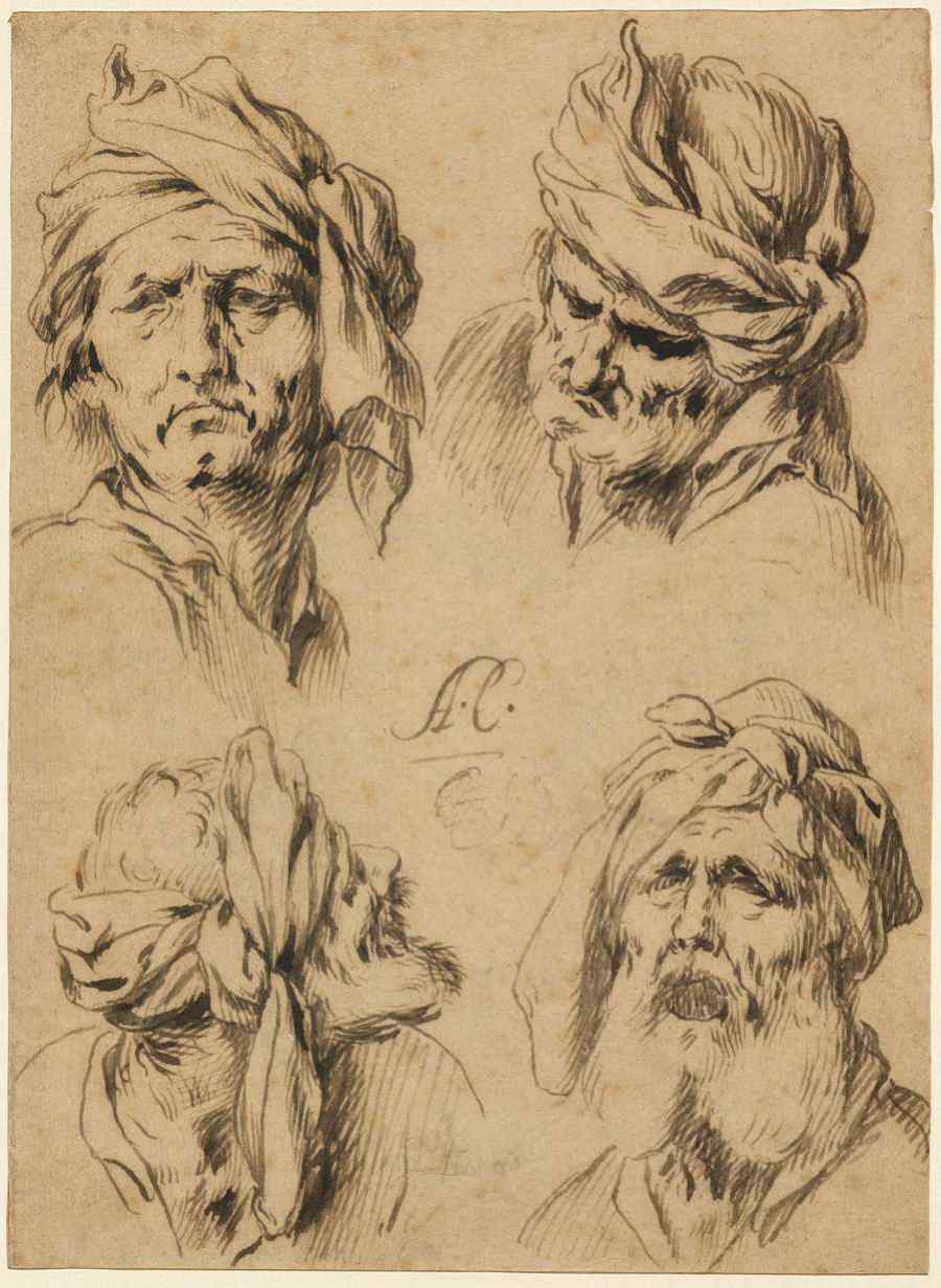 Moving-art - Antonio Castillo y Saavedra - Studies of Four Male Heads - Drawing - Pen Ink - The J Paul Getty Museum - Los Angeles