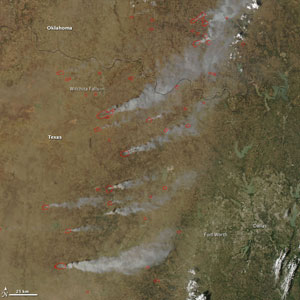 Click on the map to see a satellite image of grassfires in Texas and Oklahoma April 9.