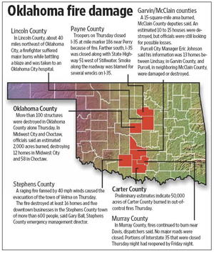 Click on the map to learn about the damage that occurred throughout Oklahoma