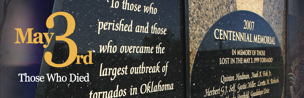 May 3rd, 1999 Oklahoma tornado anniversary memorial to those who died page