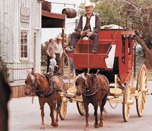 A stagecoach is shown at Frontier City.