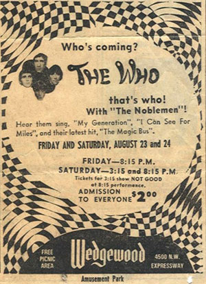 The Who concert at Wedgewood is promoted in this advertisement.