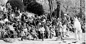 Children participate in an Easter egg hunt event in 1975 at Springlake.
