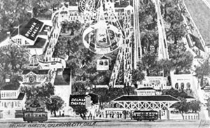 A postcard shows a drawing of an early day Delmar Gardens.