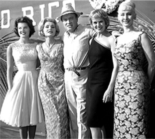Anita Bryant traveled with the USO tour. Pictured from left are Bryant, Zsa Zsa Gabor, Bob Hope, Janis Paige and Delores Gay. This photo was taken at Ramey Air Force Base in Puerto Rico.