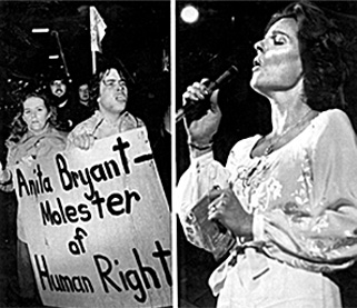 Although Anita Bryant gained popularity with her singing voice, she attracted controversy and spurred public protests when she became vocal against homosexuality.