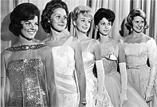 In September 1963, five former Miss Oklahoma winners gathered in Oklahoma City. Pictured from left are Anita Bryant (1958), Mary Hazelton (1959), Kay Creed (1960), Dana Reno (1961) and Billi Kaye Smith (1962).