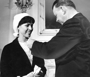Maria Tallchief is made a member of the state's ambassador corps by Gov. Henry Bellmon