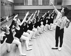 Ballerina students get last-minute instruction from Yvonne Chouteau in final rehearsals for 'The Nutcracker' in 1964.