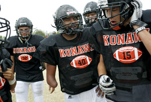 Stephen Cully (#40) practices with his teammates at Konawa High School in Konawa, Okla., on Monday, Aug. 29, 2011.