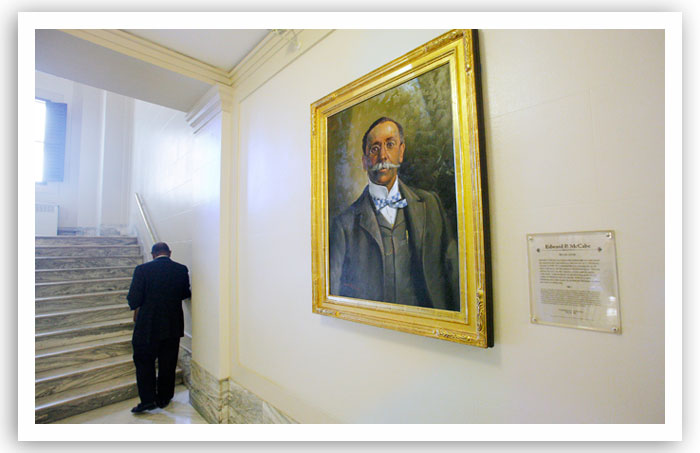 Edward P. McCabe's portrait hangs on the fourth floor of the state Capiol. McCabe cofounded the city of Langston.