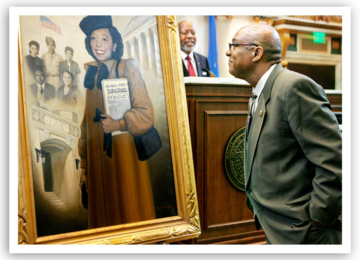 Bruce Fisher inspects the portrait of his mother, Ada Lois Sipuel Fisher, at its dedication ceremony at the Capitol in 2007.
