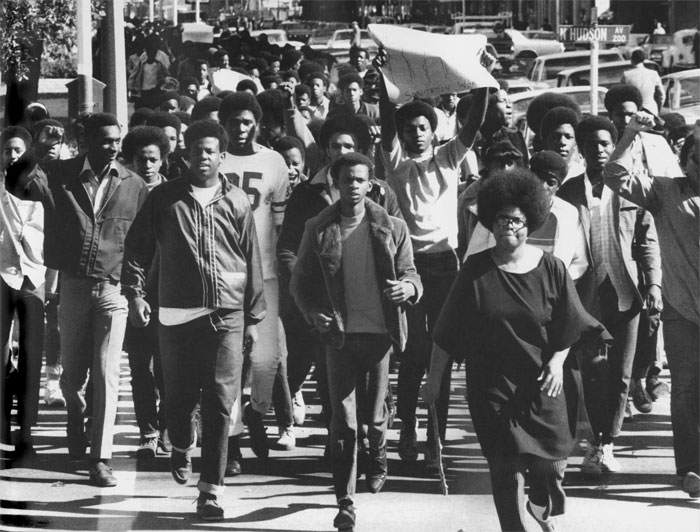 Douglass High School demonstrators march across Hudson in this undated photo from the 1960s. The protestors were heading west on Park Avenue to City Hall to show support for a city sanitation workers' strike.