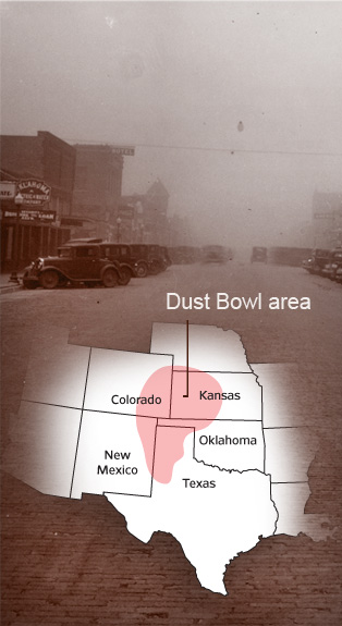 map of the Dust Bowl area
