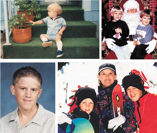 (top left)Eric, age 15 months.(top right)Christmas ages 5 (Eric) and 2 (Sam). (bottom left)Eric, freshman year at Edmond Memorial High School. (bottom right)Sam, Kelly and Eric skiing in Red River.