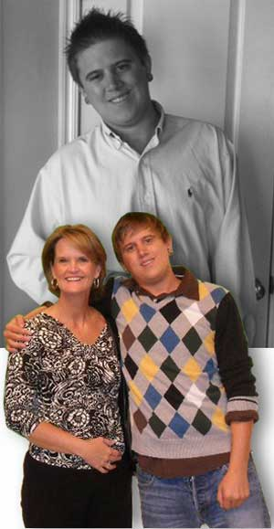 (top)Eric, home for Easter. (bottom)Mom and son pose for a photo during a visit home.