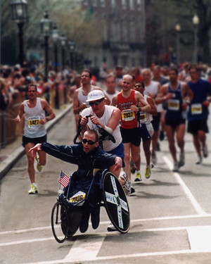Dick and Rick Hoyt at the Boston Marathon