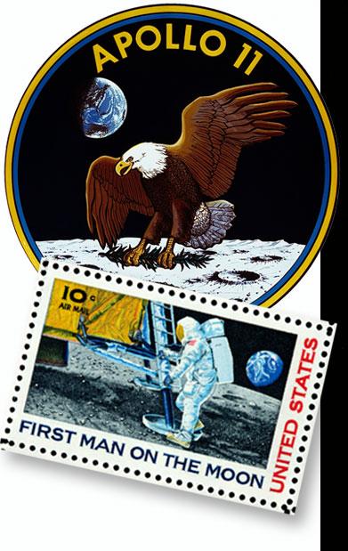 The Apollo 11 flight insignia and commemorative stamps.