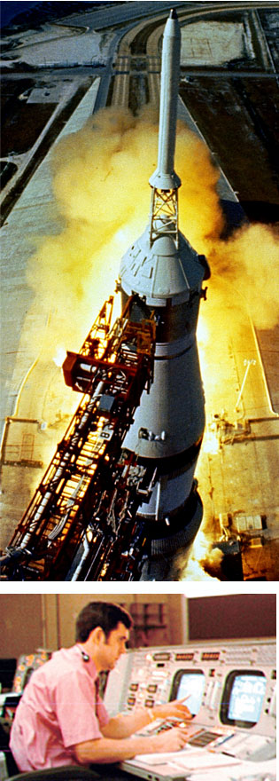 Saturn V rocket and Jerry Elliot, retrofire trajectory officer at Mission Control