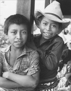 Tzutuhil Indian boys pose for picture, 1986. The Oklahoman archives.