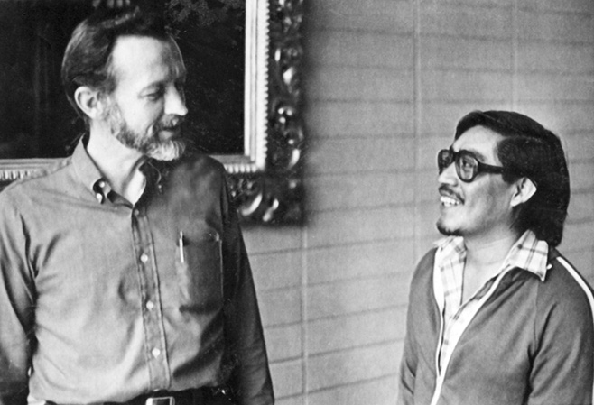 Father Stanley Rother, left, visits with Father Pedro Bocel in Guatemala in 1981.