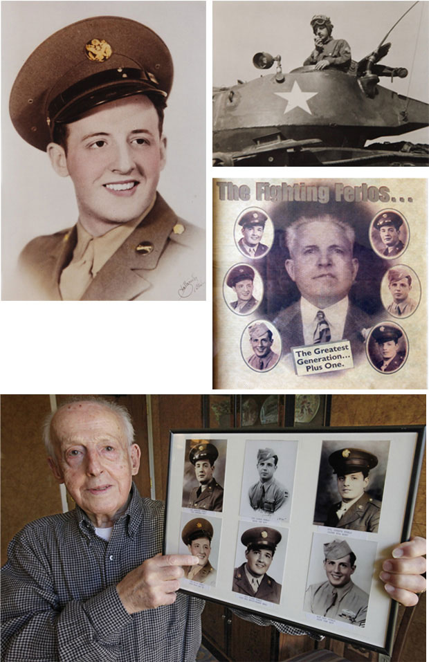 World War II veteran Guido Ferlo shows a photo of all six Ferlo brothers who fought in the war.