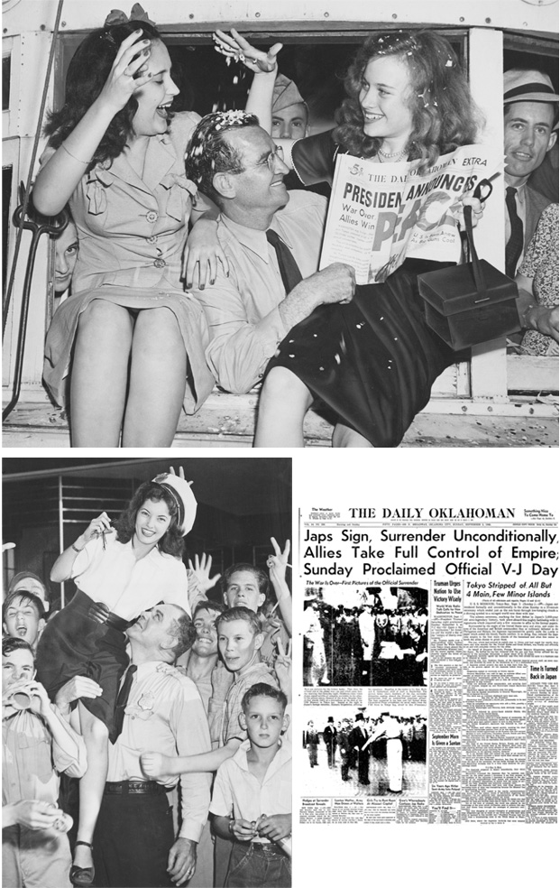 America celebrated V-J Day on Sept. 2, 1945, when the Japanese surrendered, marking the end of World War II. Celebrations broke out across Oklahoma City at the end of the war.