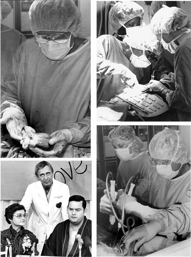 a montage of photos from the heart transplant surgery