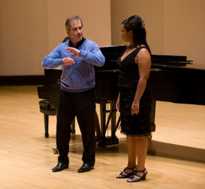 Ravinia Music Director James Conlon works with soprano Janai Brugger in a master class in 2011.