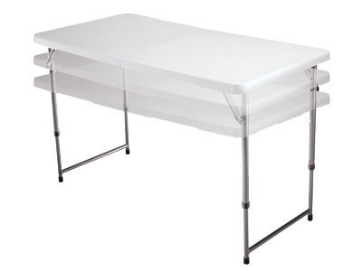 The Buffet Table. Folds In Half. Built In Handle For Easy Carrying.  Adjustable Height 48u201d L X 30u201d W X 29u201d H