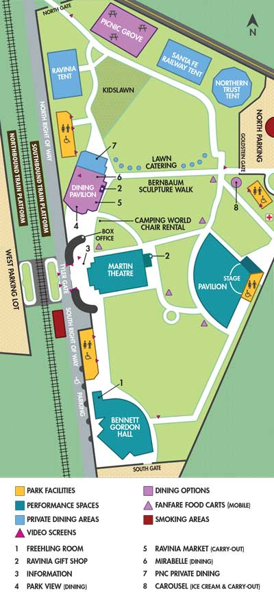 Click here to download a printable version of the Ravinia Festival map ...