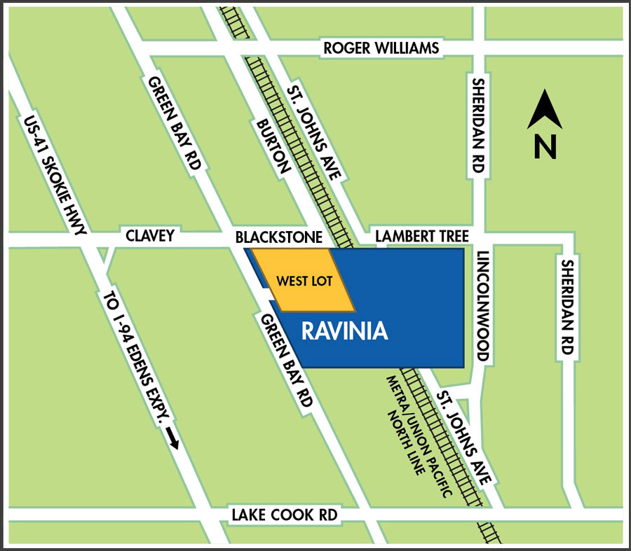map of Ravinia parking lots