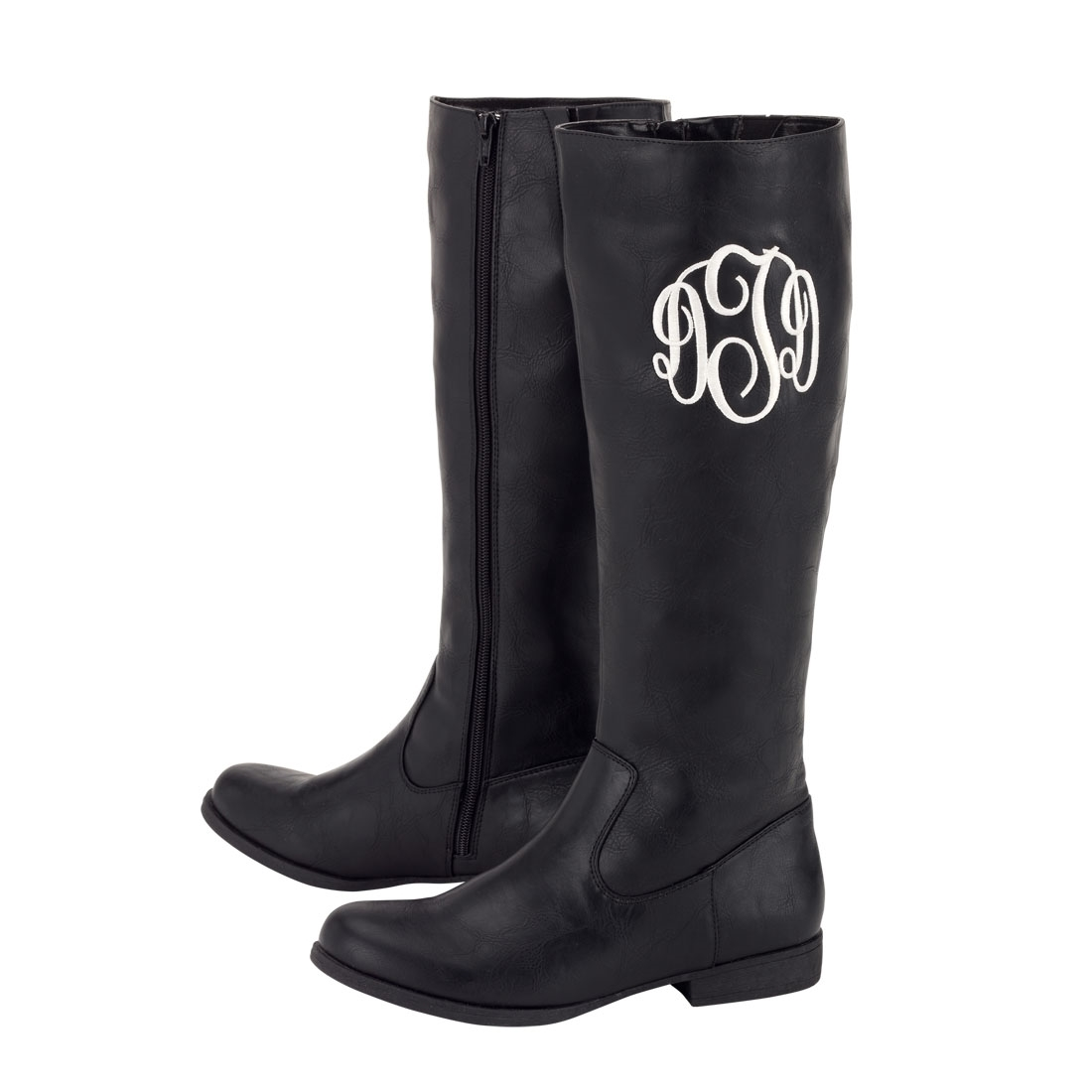 personalized monogrammed embroidered black boots