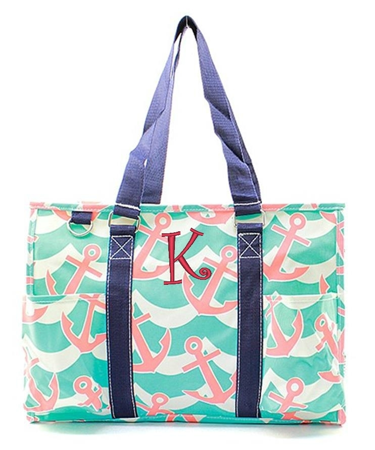 personalized 18 quot large zip top organizing utility tote bag