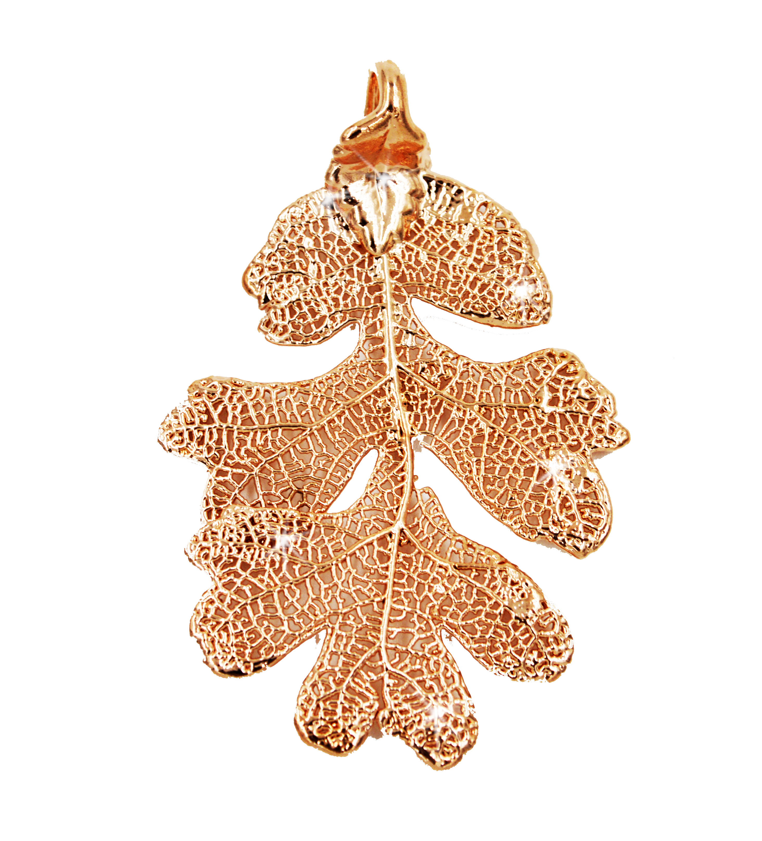 Zhannel Real Leaf Pendant Lacey Oak In Dipped Rose Gold G...