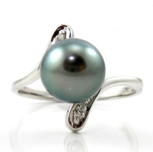 8 9mm top quality tahitian black pearl ring in 14k white