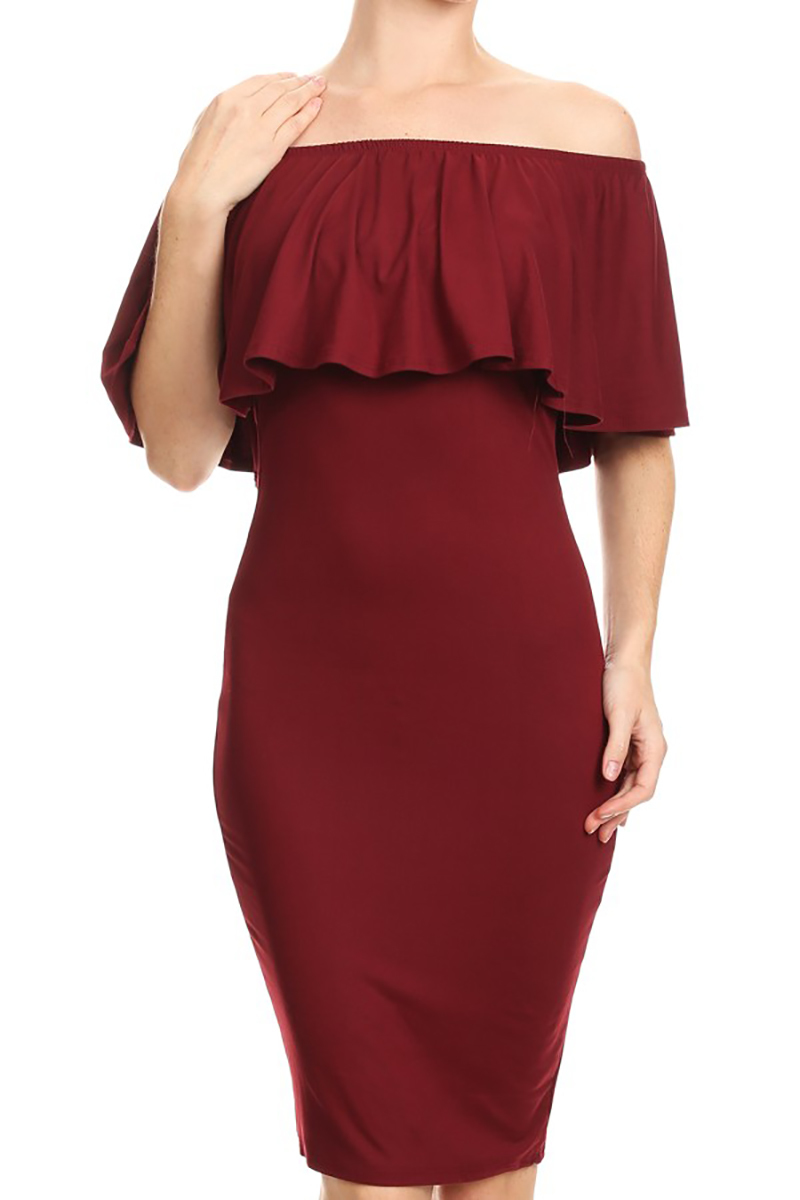 Usa women off shoulder strapless ruffled bodycon midi for Cocktail usa