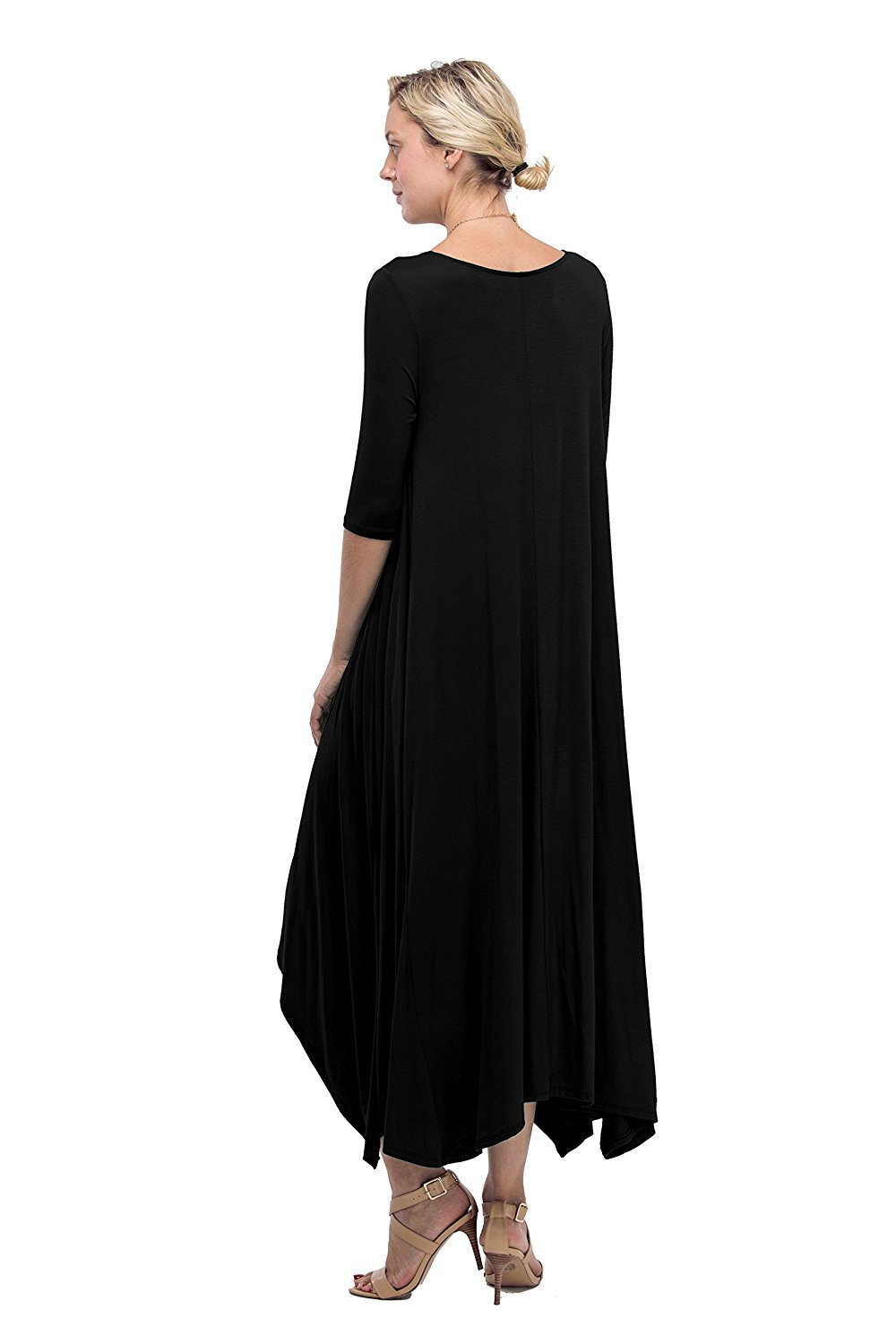 USA Women Solid Round Neck High Low Flared Long Jersey Draped ...